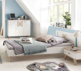 Modernes Bett Atina aus weißem Dekor
