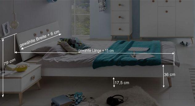 Bemaßungs-Grafik zum Bett Beano