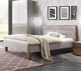 Bett Cassian mit hellem Webstoffbezug
