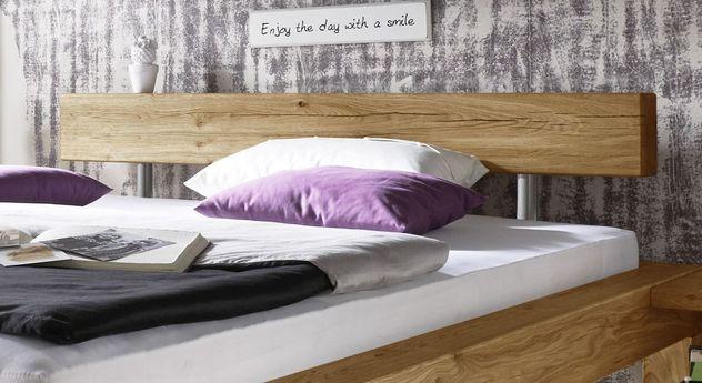 Betten Machen Dekorativ rustikales balkenbett aus massivem wildeichenholz claro