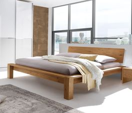 Bett Evora aus natürlich geöltem Wildeichenholz