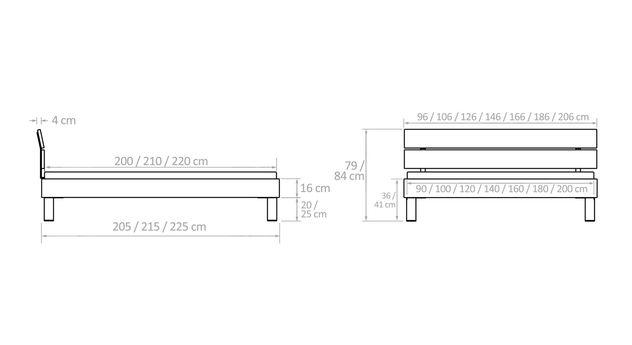 Maßskizze zu Betten mit gekipptem Kopfteil