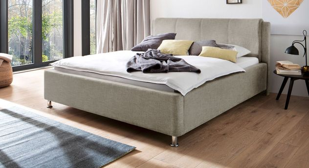 Beigefarbenes Bett La Marsa in einer Breite von 180 cm