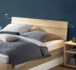 Rustikales Bett Larus mit Holz-Kopfteil