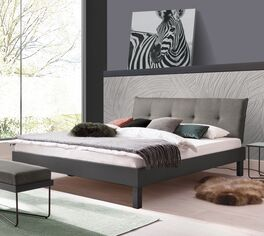 Modernes Bett Mauno in stilvollem Materialmix