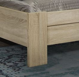 Bett Oakvill mit Bettbeinen aus Eiche sägerau Dekor