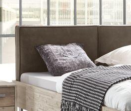 Bett Tampere mit gepolstertem Kopfteil aus Luxuskunstleder