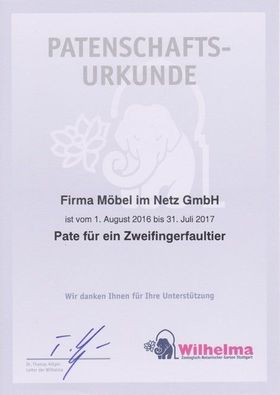Betten.de Patenschaft Stuttgart Faultier Urkunde