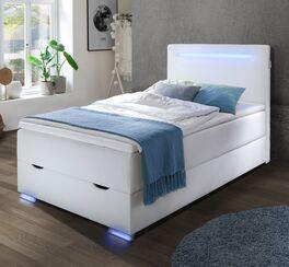 Bettkasten-Boxspringbett Iniko aus weißem Kunstleder