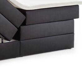 Bettkasten-Boxspringbett Tollocan mit niedrigen grauen Füßen