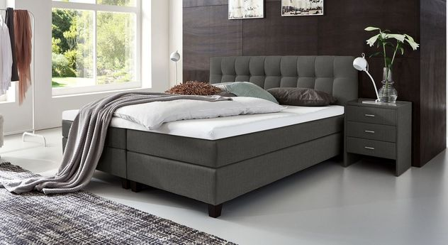 53 cm hohes Boxspringbett Luciano aus meliertem Webstoff in Anthrazit
