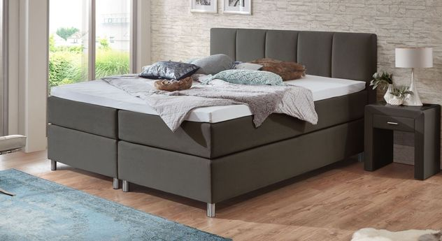 66 cm hohes Boxspringbett Rockford aus anthrazitfarbenem Webstoff