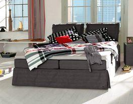 Boxspringbett Tom Tailor Cushion in dunkelgrau in der Größe 180x200 erhältlich