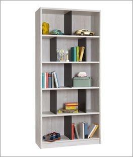 Bücherregal Mereto mit 7 lavafarbenen Zwischenstegen