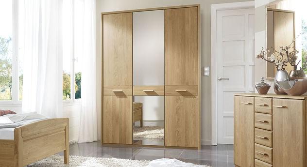 Kleiderschrank Eiche teilmassiv mit großen Spiegelflächen - Agaro