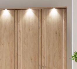 Drehtüren-Kleiderschrank Herdorf mit eleganter Beleuchtung