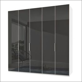 Drehtüren-Kleiderschrank Tramonti mit anthrazitfarbener Glasfront
