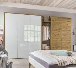 Drehtüren-Kleiderschrank Vacallo optional mit Wildeichen-Rahmen