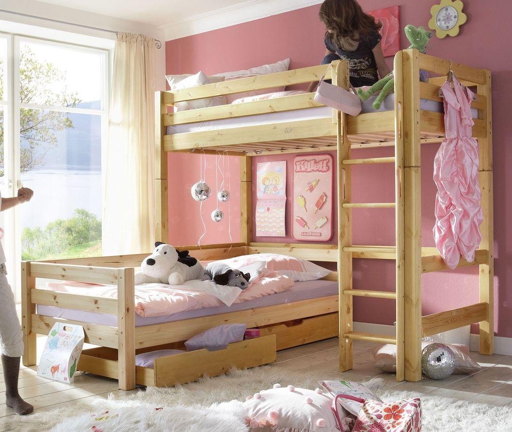Eck-Etagenbett Kids Paradise aus massiver Kiefer
