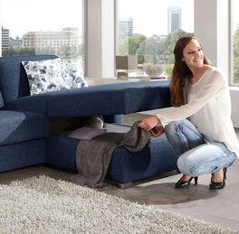 Modernes Ecksofa Lelio mit Schlaffunktion und praktischem Bettkasten
