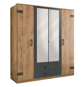 Funktions-Kleiderschrank Borlotto mit großen Spiegeln