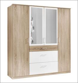 Viertüriger Funktions-Kleiderschrank Prea mit großer Spiegelfläche