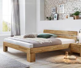 Geradliniges Bett Kanata aus natürlichem Wildeichenholz