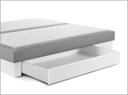 Grafik zum Buchenholz-Sockel in Weiß mit Bettschublade