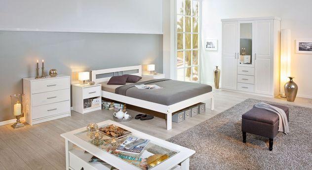preiswertes schlichtes komplett schlafzimmer kiefer massiv genf. Black Bedroom Furniture Sets. Home Design Ideas