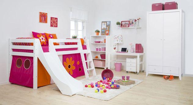 Kinderzimmer komplett mit Rutschbett aus Kiefer - Blumenmädchen