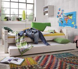 Stabiles Ausziehbett Kids Dreams mit 2 Schlafplätzen in Weiß