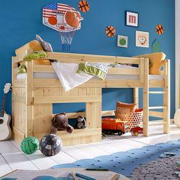 Günstiges Hütten-Hochbett Kids Paradise für Jungen inklusive Roll-Lattenrost