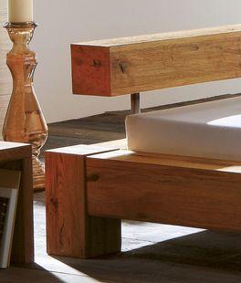 Hochwertiges Eiche-Bett Linares mit Balken-Kopfteil