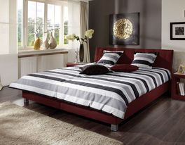 Hochwertiges Polsterbett Remigio aus rotem Kunstleder
