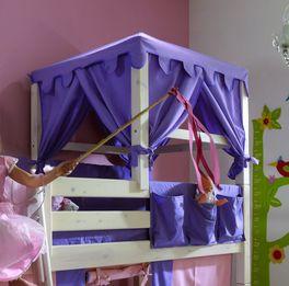 Hochwertiges Prinzessinnen Hochbett Kids Paradise mit Himmel-Bettaufsatz
