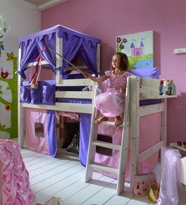 Prinzessinnen-Hochbett Kids Paradise mit Vorhang für Mädchen