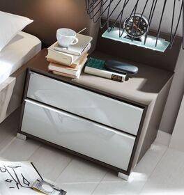 INTERLIVING Nachttisch 1006 mit weißer Glasfront