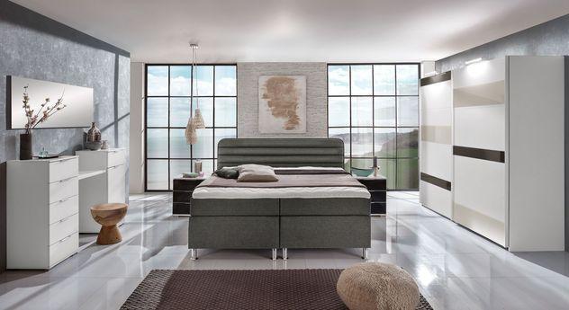 Komplett schlafzimmer mit boxspringbett junges wohnen lurato - Schlafzimmer mit boxspringbett komplett ...