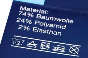 Kunstfaser Polyamid Pflegehinweis-Etikett