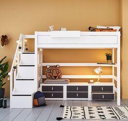 LIFETIME Hochbett Original mit Treppenmodul für moderne Jugendzimmer