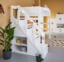LIFETIME Hochbett Original mit Treppenmodul und integriertem Stauraum
