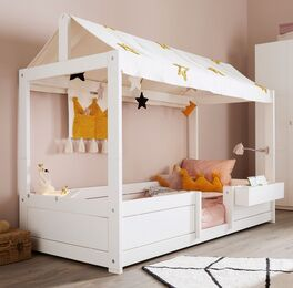 Weißes LIFETIME Kinderbett Princess Stars für Mädchenzimmer