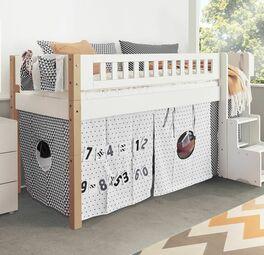 Mini-Hochbett Kids Town Design mit trendigen Holzpfosten