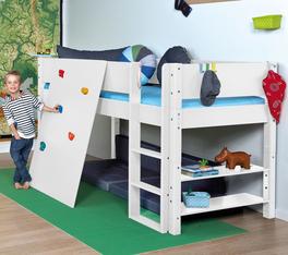 Mini-Hochbett Kids Town mit Kletterwand und sicherem Gerüst