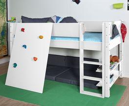 Mini-Hochbett Kids Town mit Kletterwand aus weißem MDF