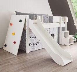 Mini-Rutschen-Hochbett Kids Town mit bunten Haltegriffen an der Kletterwand