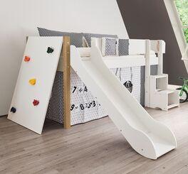 Weißes Mini-Rutschen-Hochbett Kids Town mit robuster Kletterwand