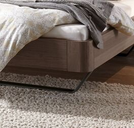 Modernes Bett Epondia mit Eichenholz-Bettrahmen