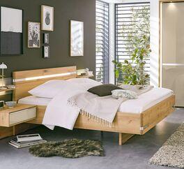 MUSTERRING Bett Savona 2.0 aus hellem teilmassivem Eichenholz