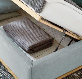 MUSTERRIN Polsterbett Delphi Variante A mit gelochter Bodenplatte zur Bettkasten-Belüftung